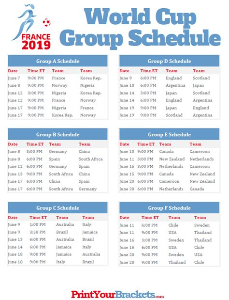 Printable 2019 Women's World Cup Group Schedule