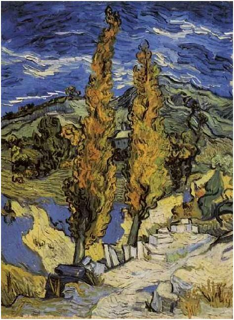 Two Poplars on a Road Through the Hills by Vincent Van