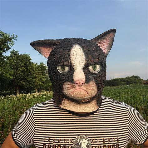 Funny Angry Cat Halloween Cosplay Animal Masks Full Face