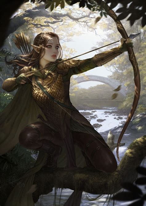 Female Elf Bow Quiver Arrows Scale Mail Armor Fighter