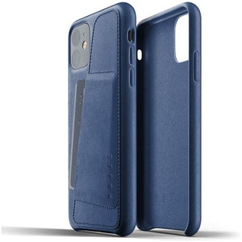 Mujjo Full Leather Wallet pouzdro iPhone 11 modré   Smarty